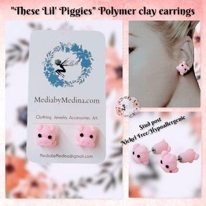 🆕These Lil' Piggies, Polymer clay earrings